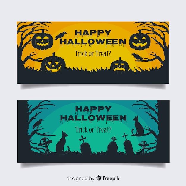 Begraafplaats pompoenen platte halloween banners Gratis Vector