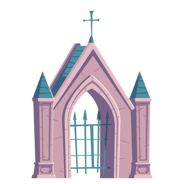 Begraafplaats poort met metalen rooster en kruis op de top Gratis Vector