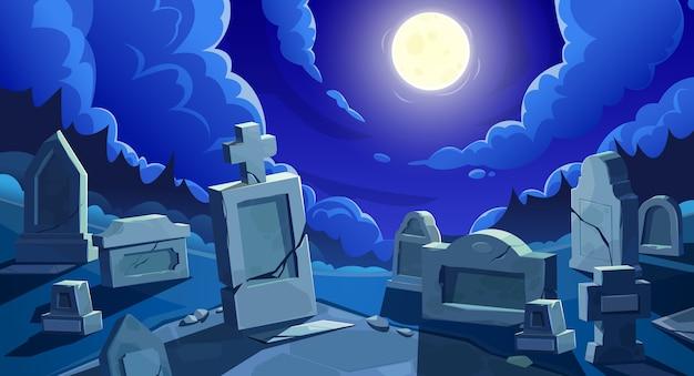 Begraafplaats 's nachts met volle maan, kerkhof met grafstenen en gebarsten stenen kruisen. Premium Vector