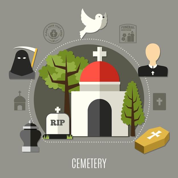 Begraafplaats set Gratis Vector