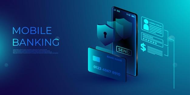 Begrippen mobiele betalingen, bescherming van persoonlijke gegevens. header voor website met smartphone en bankpas Premium Vector