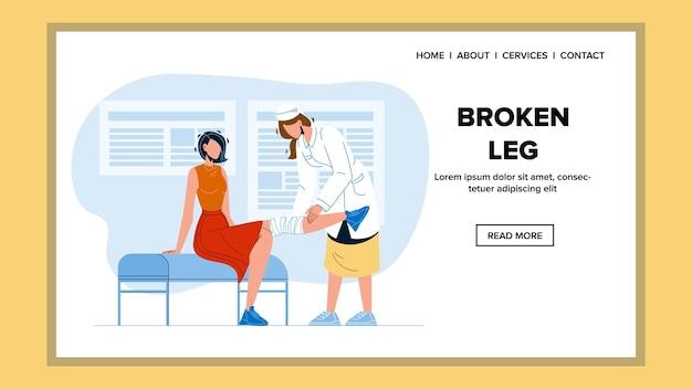 Behandeling van gebroken been in medische kast Premium Vector