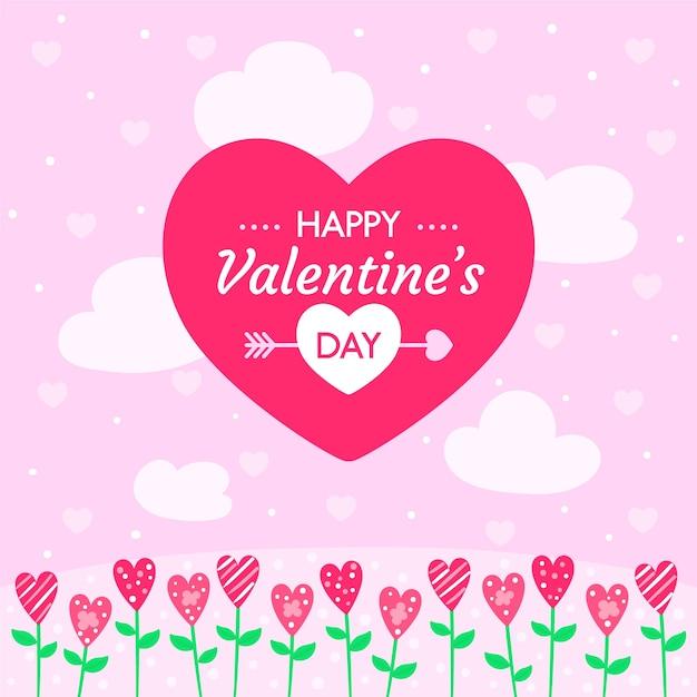 Behang met valentijnsdagconcept Gratis Vector