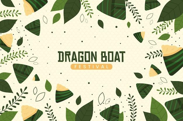 Behang met zongzi voor drakenboot Gratis Vector
