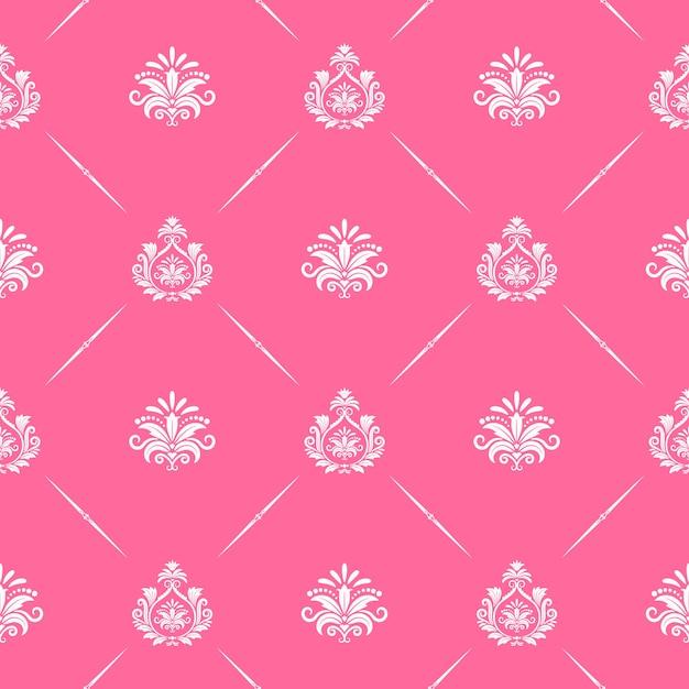 Behang naadloos barok in roze kleur. patroon victoriaanse stijl. Gratis Vector