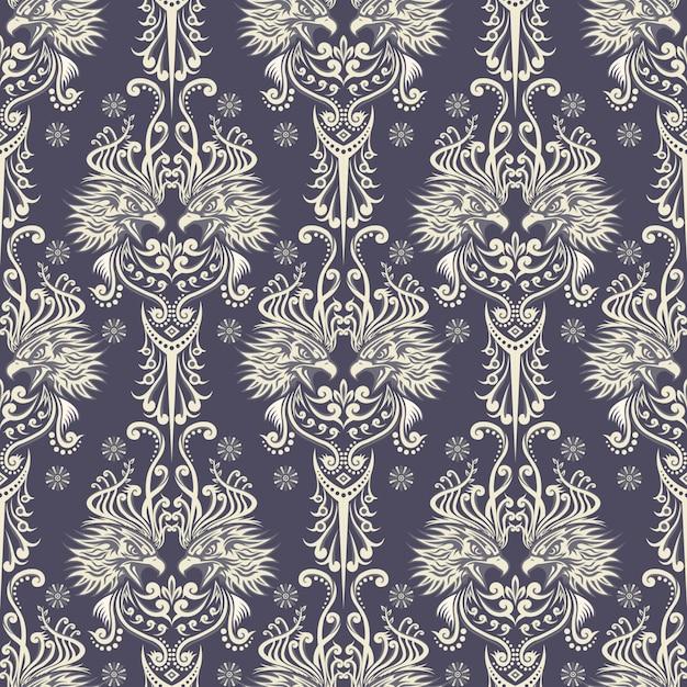 Behang stijl adelaar patroon met kleur wit en grijs Premium Vector