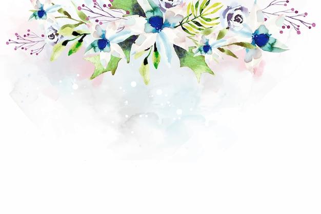 Behangontwerp met waterverfbloemen Gratis Vector