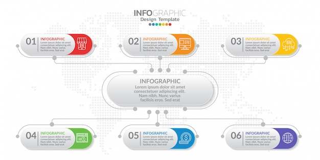 Beheer infographic sjabloon met nummer. Premium Vector