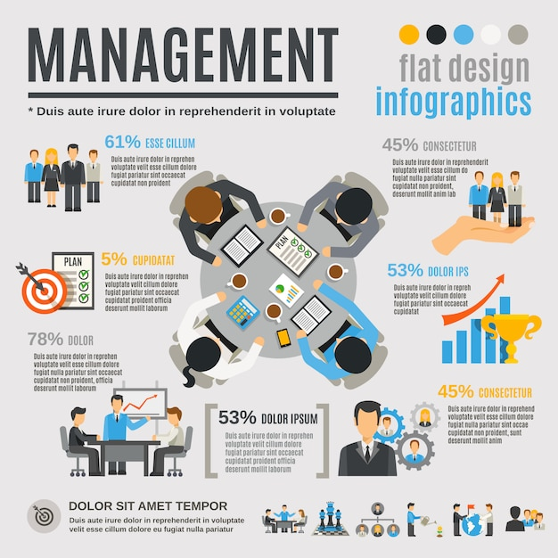 Beheer infographics set Gratis Vector