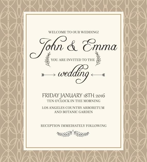 Beige gekleurde decoratief frame uitnodigingsbriefkaart op filigraan met tekst over belangrijke informatie betreffende de viering van het huwelijk in de botanische tuin. Gratis Vector