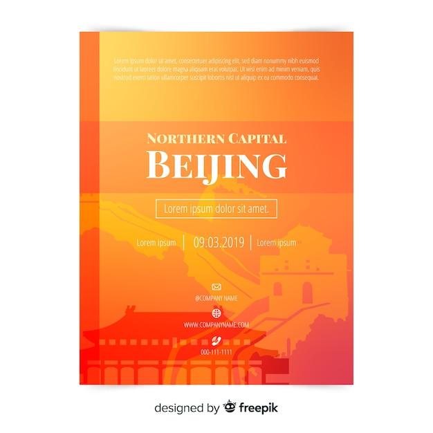 Beijing flyer sjabloon Gratis Vector