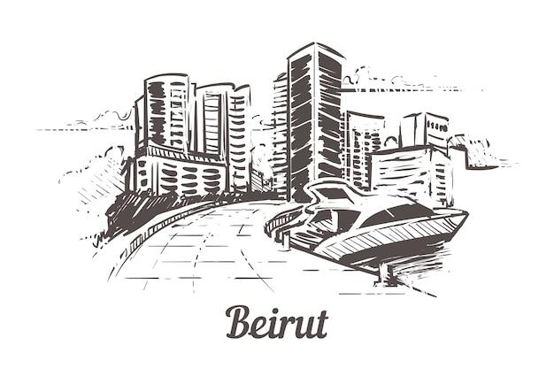Beiroet handgetekend landschap Premium Vector