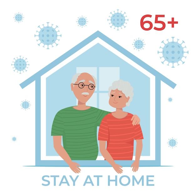 Bejaarde echtpaar thuis blijven in quarantaine, bescherming tegen virussen. blijf thuis tijdens de coronavirus-epidemie. illustratie in vlakke stijl. Premium Vector