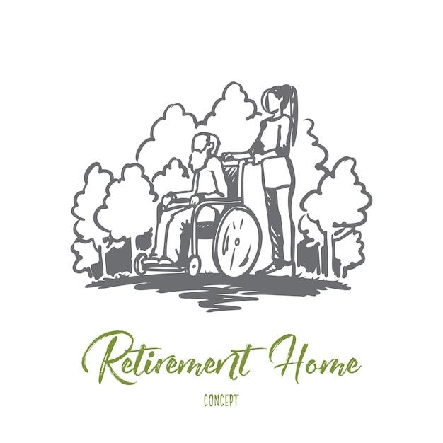 Bejaardentehuis, oude man, ouderen, gepensioneerde, gezondheidsconcept. hand getekende oude man op rolstoel met maatschappelijk werker concept schets. Premium Vector