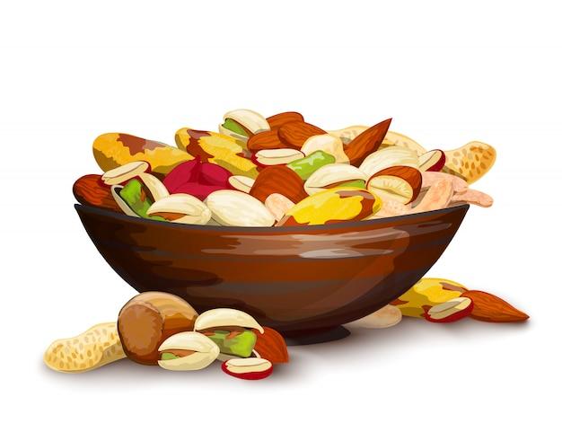 Beker met noten Gratis Vector