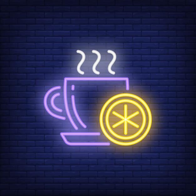 Beker van hete thee met citroen neon teken Gratis Vector
