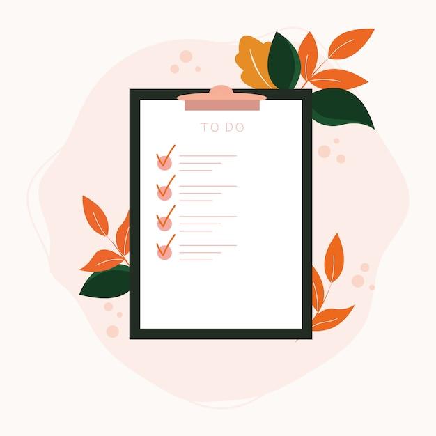 Bekijk de lijst op klembordpapier met botanische elementen. voltooi het opdrachtenconcept succesvol. Premium Vector