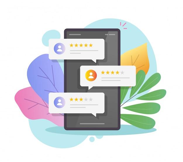 Bekijk de reputatie online bubbels op mobiele telefoons of getuigenissen van klantenfeedback op de illustratie van een smartphone Premium Vector