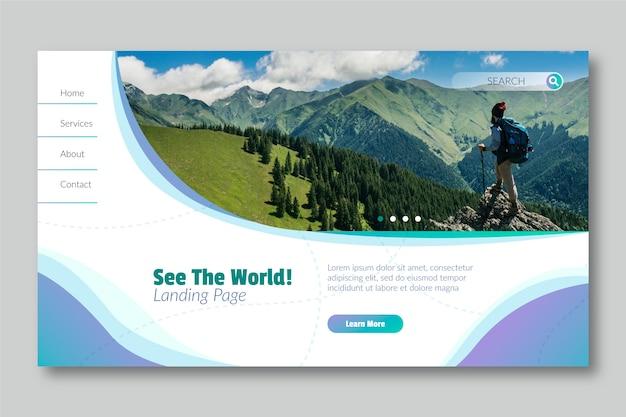 Bekijk de wereldlandingspagina met foto Gratis Vector