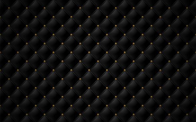 Bekleding mat zwart lederen textuur bank en antieke bronzen nagel Premium Vector