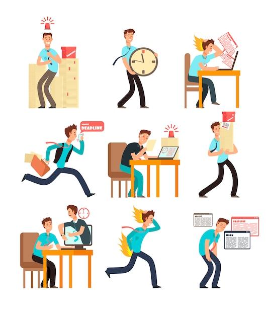 Beklemtoonde bureaumensen voor uiterste termijn en tijdbeheerconcept. zakenman onder deadline werklast. vector tekens Premium Vector