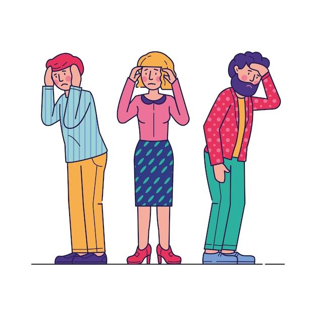 Beklemtoonde mannen en vrouwen die hoofdpijn voelen Gratis Vector