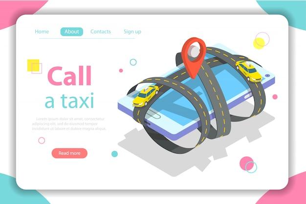 Bel een taxi platte isometrische websjabloon. Premium Vector