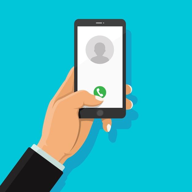 Bel met de telefoontoets en het pictogram van mensen op het display van de smartphone. Premium Vector