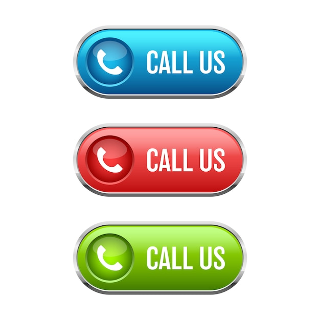 Bel ons knop illustratie op witte achtergrond Premium Vector