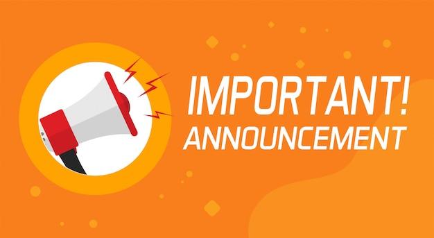Belangrijke aankondigingsinformatie en aandachtsbanner Premium Vector