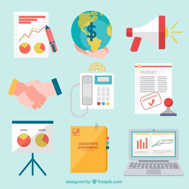 Belangrijke business icons Gratis Vector