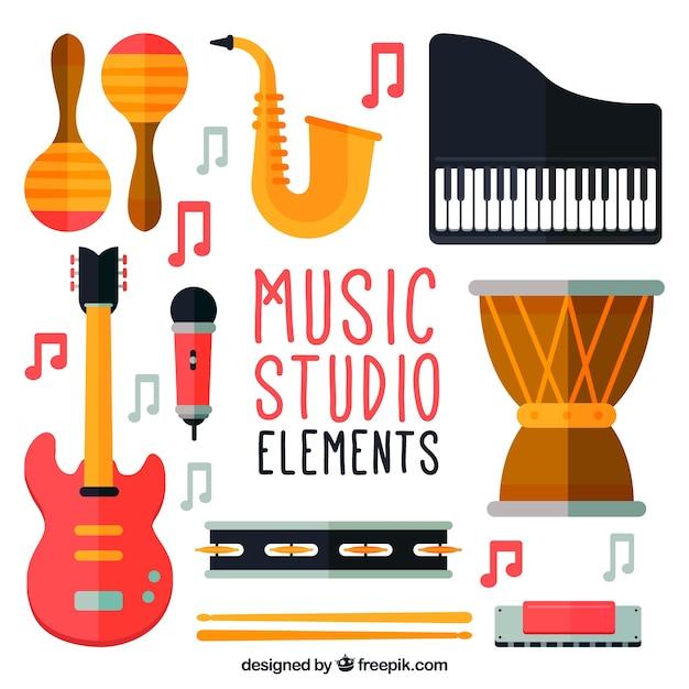 Belangrijkste elementen van een muziekstudio vector gratis download - Ontwikkel een studio van m ...