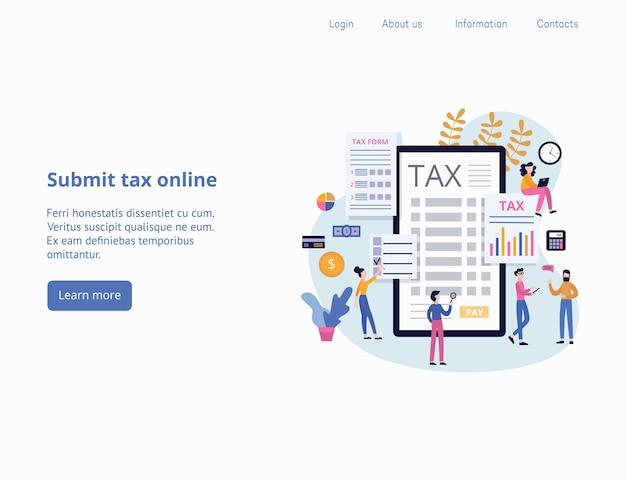 Belasting indienen of online belastingbetaling en rapport koptekstsjabloon bestemmingspagina met stripfiguren van mensen, illustratie. achtergrond van app voor financiële diensten. Premium Vector