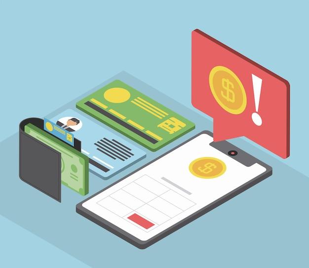 Belasting mobiele portemonnee geldbericht Premium Vector