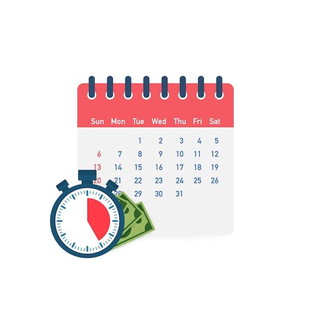 Belastingdag. concept van betaaldatum of betaaldaglening zoals een kalender met geld. Premium Vector