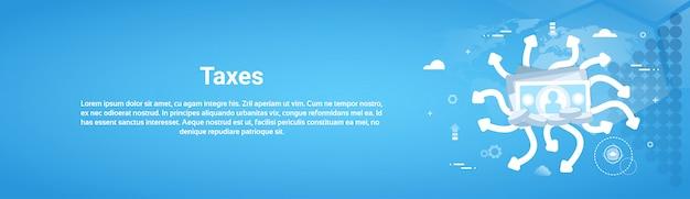 Belastingen betaling concept horizontale webbanner met exemplaarruimte Premium Vector