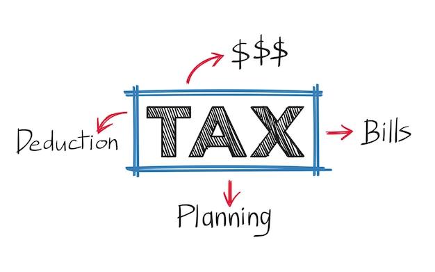 Belastingen en en rekeningenillustratie Gratis Vector
