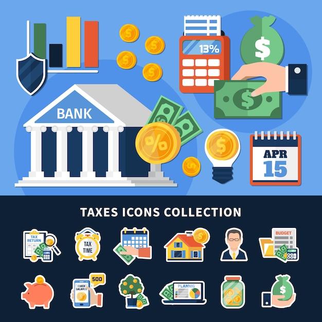 Belastingen iconen collectie Gratis Vector