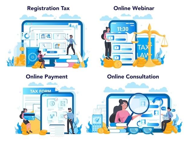 Belastinginspecteur online service of platform ingesteld Premium Vector