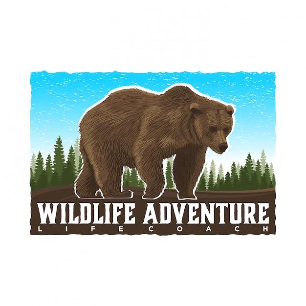 Beleef avontuur op het wild en buiten Premium Vector