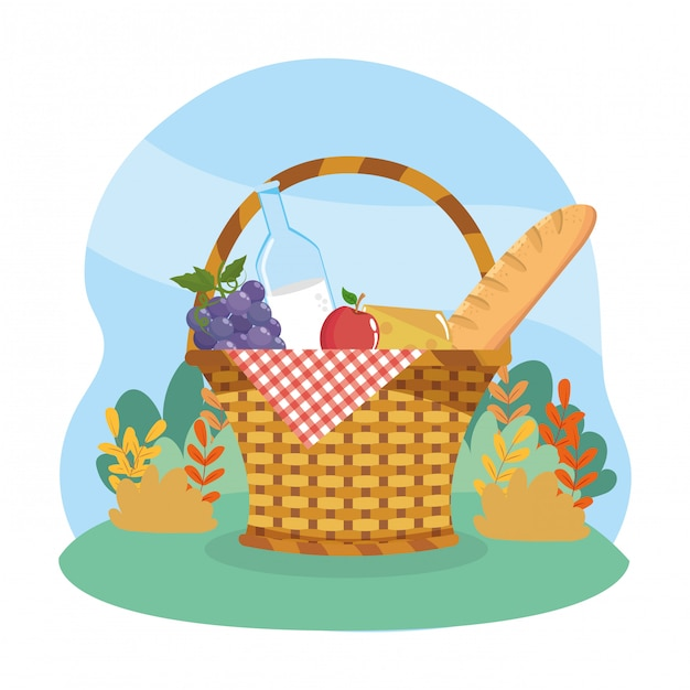 Belemmer met druiven en melkfles met appel en brood Gratis Vector