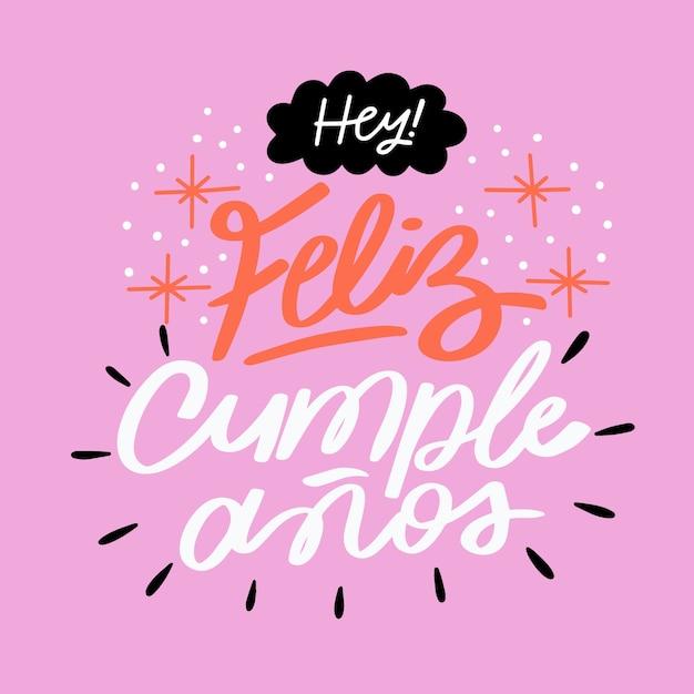 Belettering concept met feliz cumpleaños l Gratis Vector