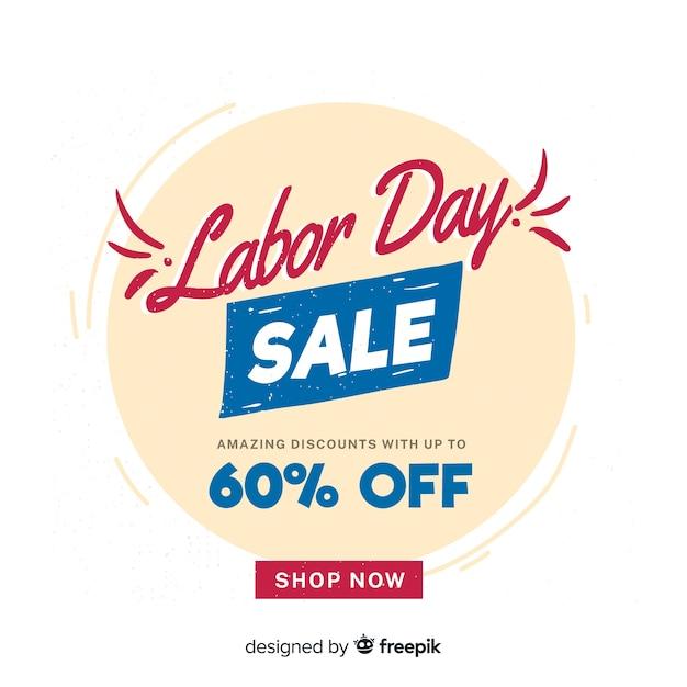 Belettering dag van de arbeid verkoop banner Gratis Vector