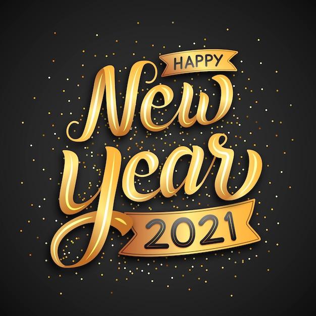Belettering gelukkig nieuw jaar 2021 Gratis Vector