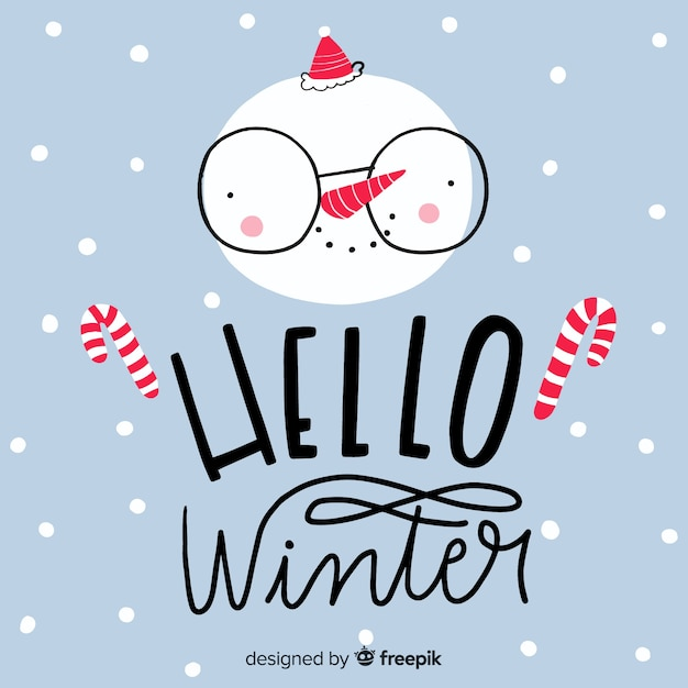 Belettering hallo winter Gratis Vector