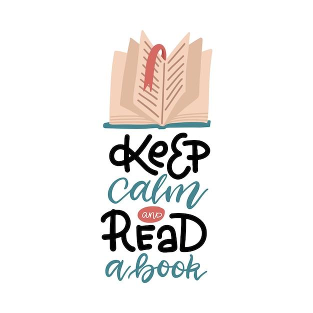 Belettering inschrijving - blijf kalm en lees een boek. open boek met oude pagina. Premium Vector