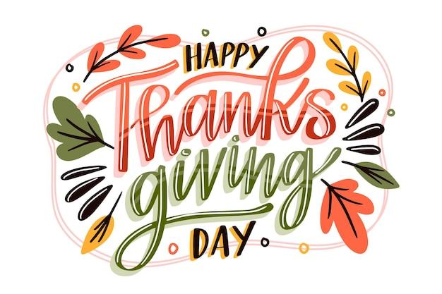 Belettering ontwerp happy thanksgiving Gratis Vector