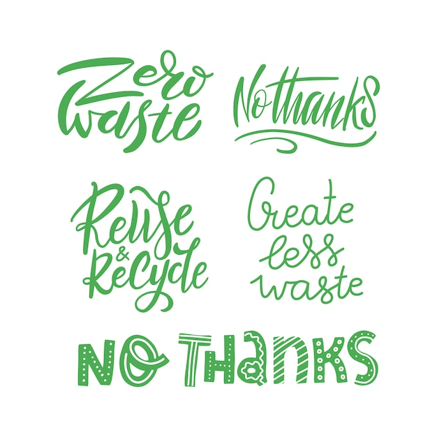 Belettering set sjabloon met hand getrokken vector. unieke zinnen over eco, afvalbeheer. motiverende quote, met herbruikbare producten. Premium Vector