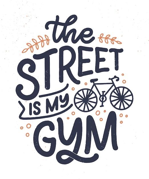 Belettering slogan over fiets voor poster, print en t-shirt design. natuurcitaat opslaan. vector illustratie Premium Vector