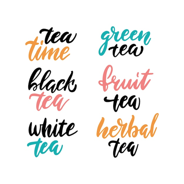 Belettering tea time collection Premium Vector